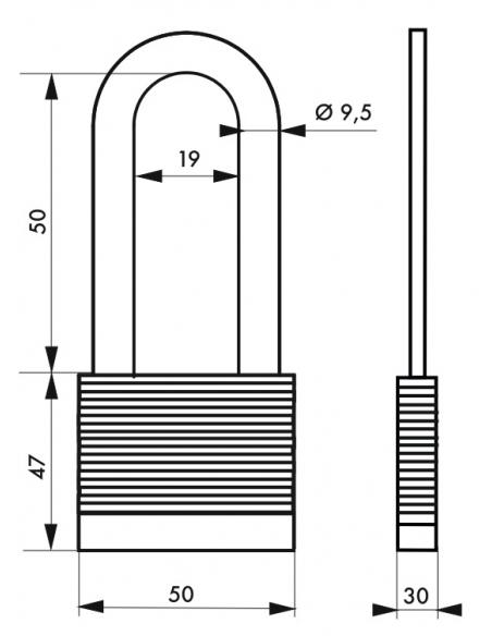 Cadenas à clé Fédéral Lock Protector, extérieur, acier, anse demi-haute, double verrouillage, 50mm, 2 clés - THIRARD Cadenas