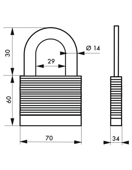 Cadenas à clé Fédéral Lock Protector, extérieur, acier, double verrouillage, 70mm, 2 clés - THIRARD Cadenas
