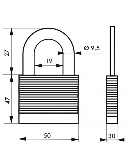 Cadenas à clé Fédéral Lock Protector, extérieur, acier, double verrouillage, 50mm, 2 clés - THIRARD Cadenas