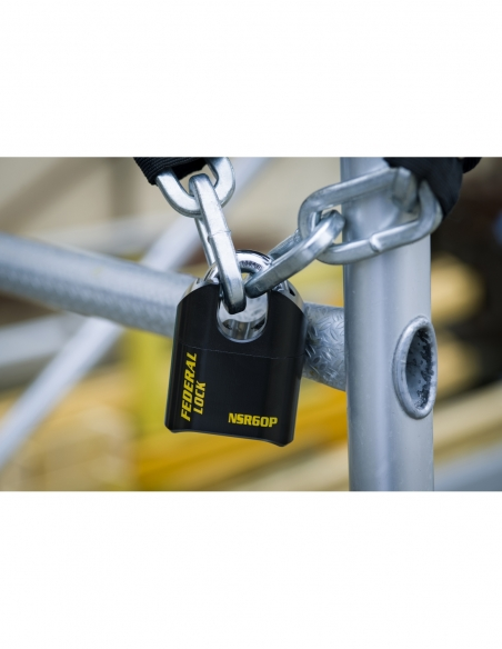 Cadenas à combinaison Fédéral Lock SRP, acier, 4 chiffres, chantier, anse acier, 62mm, noir - THIRARD Cadenas