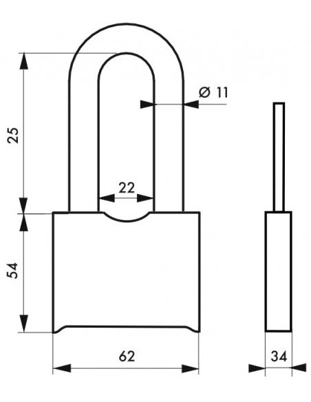 Cadenas à combinaison Fédéral Lock SR, acier, 4 chiffres, chantier, anse acier, 62mm, noir - THIRARD Cadenas