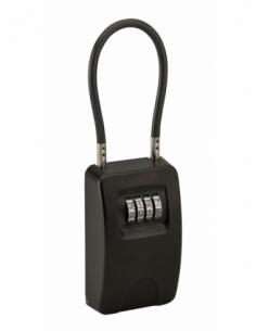 Boite à clé à combinaison, 4 chiffres, acier, 47x75mm, avec câble, noir - THIRARD Boîte à clés