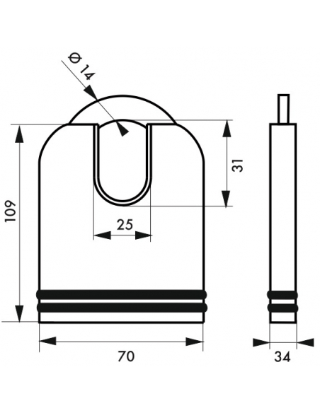 Cadenas 740 sans cylindre, chantier, acier cémenté - THIRARD Cadenas