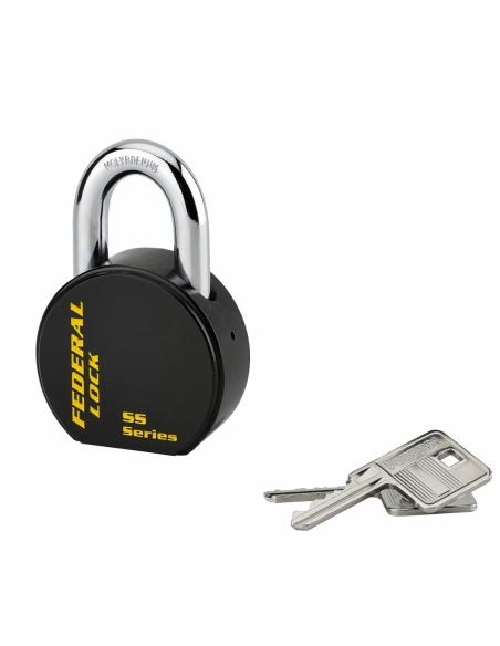 Cadenas à clé Fédéral Lock S900R, acier, chantier, anse molybdène, 63.5mm, 2 clés, noir - THIRARD Cadenas