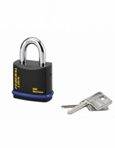 Cadenas à clé Fédéral Lock 720, acier, chantier, anse molybdène, 54mm, 2 clés, noir - THIRARD Cadenas