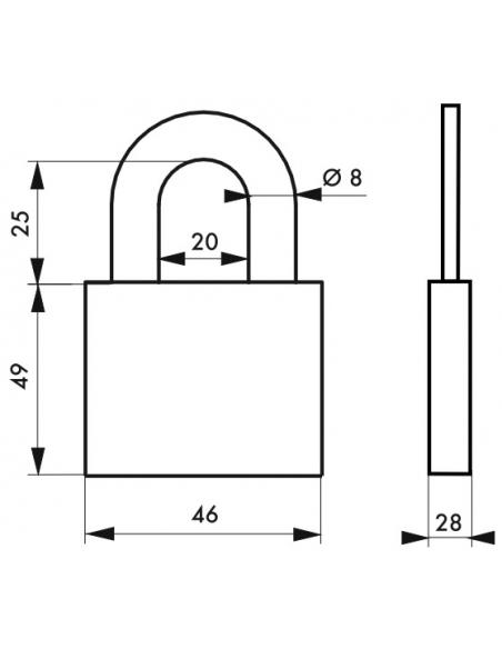 Cadenas à clé Fédéral Lock 710, acier, chantier, anse molybdène, 46mm, 2 clés, noir - THIRARD Cadenas