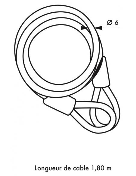 Antivol à clé Twisty, vélo, abris de jardin, câble acier 1.80m, cadenas 40mm, 2 clés - THIRARD Antivol