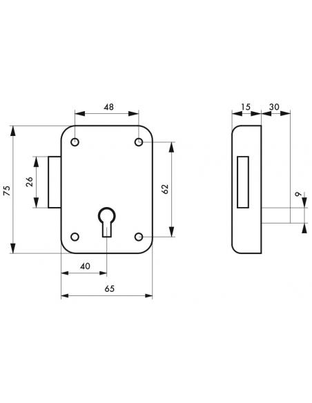 Serrure de meuble Paris pour porte d'ameublement, gauche, axe 40mm, 65x70mm, gris, 1 clé - THIRARD Serrure de meuble