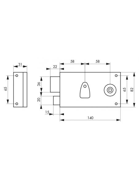 Serrure horizontale en applique à clé à fouillot pour porte intérieure, gauche, axe 58mm, 140x82mm, noir, 2 clés - THIRARD Se...