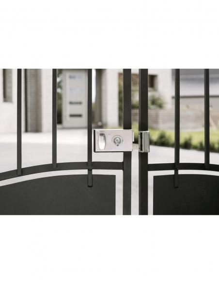 Serrure horizontale en applique à clé à fouillot pour portail, droite, axe 58mm, 140x80mm, zingué, 2 clés - THIRARD Serrure e...