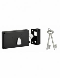 Serrure horizontale 4 gorges en applique à clé à crochet pour portail, droite, axe 58mm, 140x82mm, noir, 2 clés - THIRARD Ser...