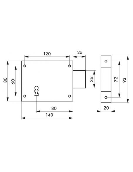 Serrure horizontale en applique à clé pour porte de cave, pêne seul, droite, axe 80mm, 140x80mm, noir, 1 clé - THIRARD Serrur...