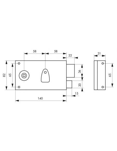 Serrure horizontale en applique à clé à fouillot pour porte intérieure, droite, axe 58mm, 140x82mm, noir, 2 clés - THIRARD Se...