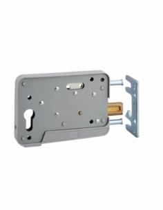 Boitier de serrure en applique à double entrée pour portillon, réversible, 150x108mm, axe 130mm, gris - THIRARD Serrure encas...