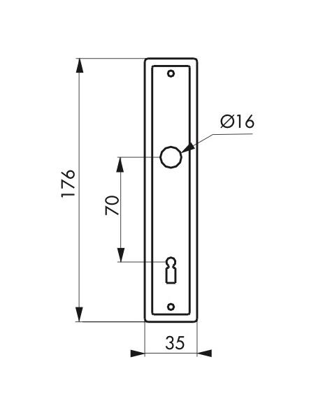 Plaque d'entrée pour serrure encastrable à clé, aluminium - THIRARD Poignée sur rosace