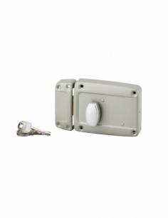 Serrure en applique pour porte de garage, 120x90mm, gauche, bouton poussoir, cylindre 55mm et poignée, laqué gris - THIRARD S...