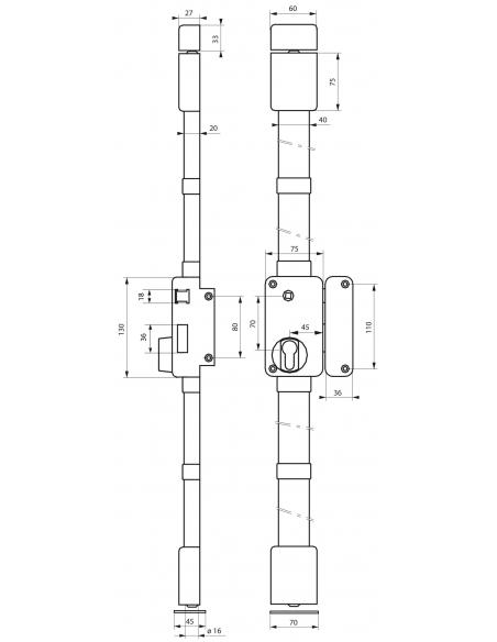 Boitier de serrure en applique Beluga à fouillot pour porte d'entrée, droite, 3 pts, axe 45mm, marron - THIRARD Serrure en ap...