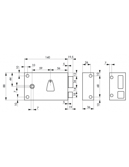 Serrure horizontale en applique à clé à fouillot pour portail, droite, axe 56mm, 140x82mm, noir, 2 clés - THIRARD Serrure en ...