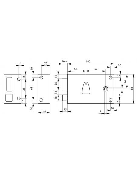 Serrure horizontale en applique 6 gorges à fouillot pour entrée, gauche, axe 56mm, carré 7mm, 140x88mm, noir, 2 clés - THIRAR...