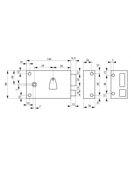 Serrure horizontale en applique 6 gorges à fouillot pour entrée, droite, axe 56mm, carré 7mm, 140x88mm, noir, 2 clés - THIRAR...