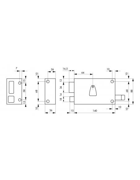 Serrure horizontale en applique 6 gorges à tirage pour entrée, gauche, axe 64mm, carré 7mm, 140x88mm, noir, 2 clés - THIRARD ...