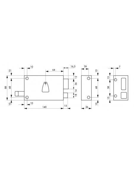 Serrure horizontale en applique 6 gorges à tirage pour entrée, droite, axe 64mm, carré 7mm, 140x88mm, noir, 2 clés - THIRARD ...