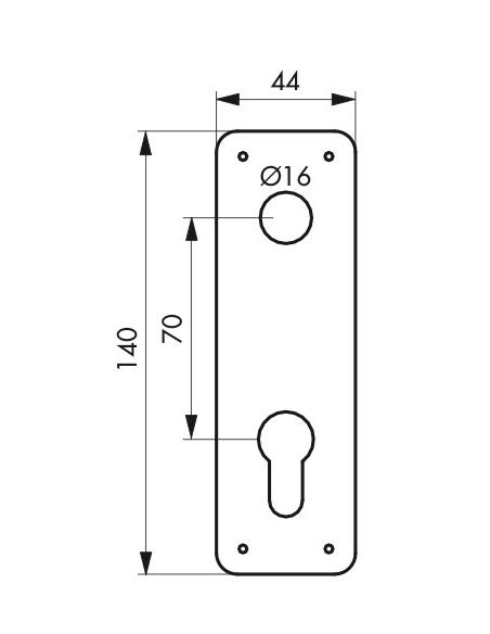 Plaque d'entrée pour serrure encastrable trou de cylindre - THIRARD Poignée