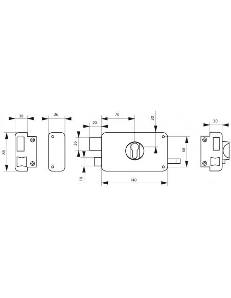 Boitier de serrure horizontale en applique double entrée à tirage pour entrée, gauche, axe 60mm, 140x88mm, noir - THIRARD Ser...