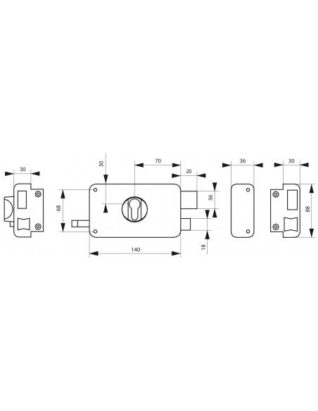 Boitier de serrure horizontale en applique double entrée à tirage pour entrée, droite, axe 60mm, 140x88mm, noir - THIRARD Ser...