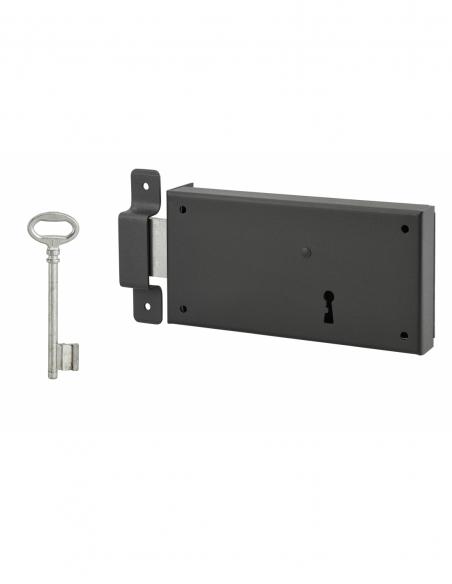 Serrure horizontale en applique à clé pour porte de cave, pêne seul, gauche, axe 105mm, 160x80mm, noir, 1 clé - THIRARD Serru...