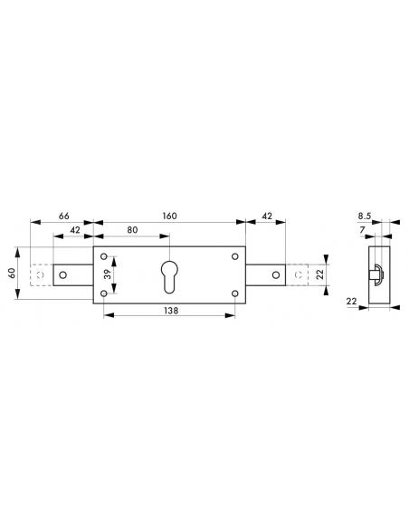 Boîtier de serrure en applique à cylindre pour rideau métallique, 2 pts latéraux, axe 80mm, 160x60mm, zingué - THIRARD Serrur...