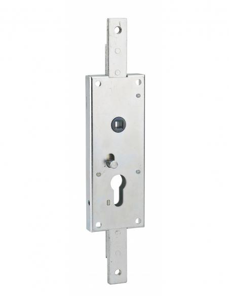 Boitier de serrure en applique à double entrée à fouillot pour garage basculante, 2pts haut&bas, 60x160mm, carré 7mm - THIRAR...