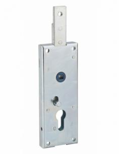 Boitier de serrure en applique à double entrée à fouillot pour garage basculante, 1pts haut, 60x160mm, carré 7mm, gris - THIR...