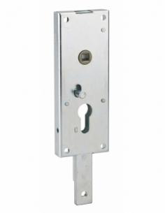 Boitier de serrure en applique à double entrée à fouillot pour garage basculante, 1pts bas, 60x160mm, carré 7mm, gris - THIRA...