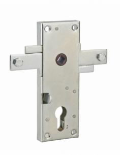 Boitier de serrure en applique à double entrée à fouillot pour garage basculante, 2pts latéraux, 55x155mm, carré 7mm - THIRAR...