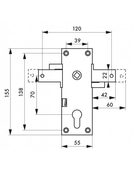 Boitier de serrure en applique à double entrée à fouillot pour garage basculante, 2pts latéraux, 55x155mm, carré 8mm - THIRAR...