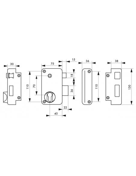 Boitier de serrure verticale en applique double entrée à fouillot pour entrée, droite pouss., axe 45mm, 75x130mm, noir - THIR...