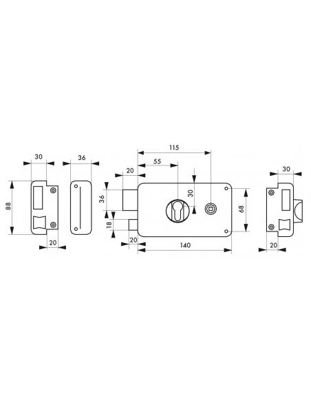 Boitier de serrure en applique double entrée à fouillot pour entrée, gauche pouss., axe 55mm, 140x88mm, noir - THIRARD Serrur...