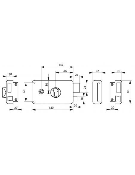 Boitier de serrure en applique double entrée à fouillot pour entrée, droite pouss., axe 55mm, 140x88mm, noir - THIRARD Serrur...