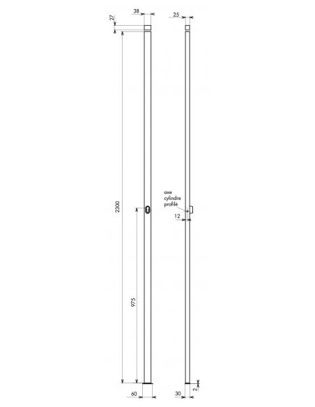 Boitier de crémone à cylindre pour porte et fenêtre, 2 pts, hauteur 2300mm, noir - THIRARD Crémone