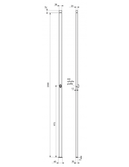 Boitier de crémone à cylindre pour porte et fenêtre, 2 pts, hauteur 2300mm, blanc - THIRARD Crémone