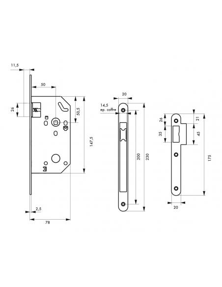 Serrure encastrable Monomax NF bec de cane pour porte intérieur, axe 50mm, bouts ronds - THIRARD Serrure encastrable