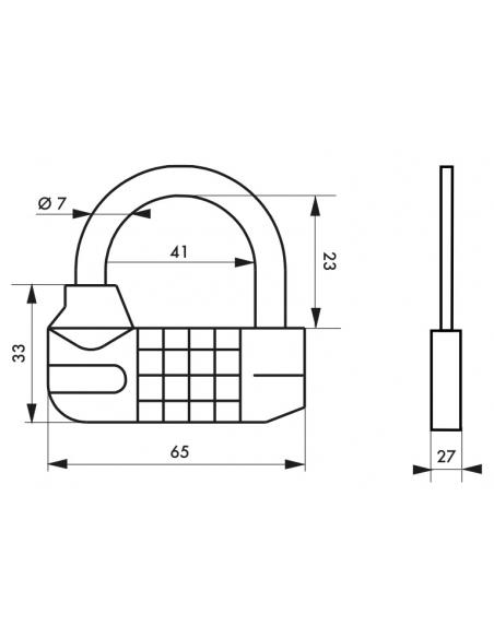 Cadenas à combinaison Saturn, 5 chiffres, intérieur, anse acier, 65mm - THIRARD Cadenas