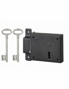 Serrure horizontale en applique à clé pour porte de cave, pêne seul, gauche, axe 60mm, 95x76mm, noir, 2 clés - THIRARD Serrur...