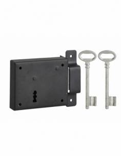 Serrure horizontale en applique à clé pour porte de cave, pêne seul, droite, axe 60mm, 95x76mm, noir, 2 clés - THIRARD Serrur...