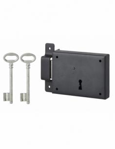 Serrure horizontale en applique à clé pour porte de cave, pêne seul, gauche, axe 60mm, 110x80mm, noir, 2 clés - THIRARD Serru...