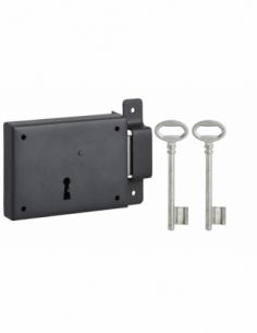 Serrure horizontale en applique à clé pour porte de cave, pêne seul, droite, axe 60mm, 110x80mm, noir, 2 clés - THIRARD Serru...