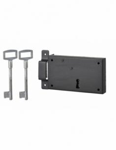 Serrure horizontale en applique à clé pour porte de cave, pêne seul, gauche, axe 80mm, 140x80mm, noir, 2 clés - THIRARD Serru...
