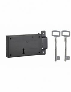 Serrure horizontale en applique à clé pour porte de cave, pêne seul, droite, axe 80mm, 140x80mm, noir, 2 clés - THIRARD Serru...