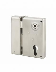 Boitier de serrure verticale en applique double entrée à fouillot pour portail, gauche, axe 45mm, 73x125mm, inox - THIRARD Se...